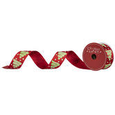 """Merry Christmas Candy Trees Wired Edge Satin Ribbon - 1 1/2"""""""