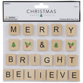Merry & Bright Wood Tile Embellishments
