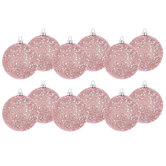 Pink Glitter Ball Ornaments