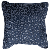 Blue Leopard Print Velvet Pillow