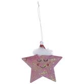 Pink Glitter Star Ornament