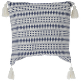 White & Blue Embroidered Pillow With Tassels