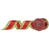 "Red, Green & White Polka Dot Wired Edge Satin Ribbon - 2 1/2"""