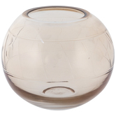 Amber Round Etched Glass Vase