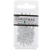 White Glitter Snowflake Brads