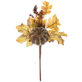 Distressed Green Pumpkin Pick With Pinecone