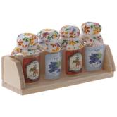 Miniature Glass Jelly Bottles On Shelf
