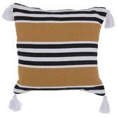 Mustard, Black & White Striped Pillow