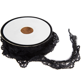 Black Ruffled Lace Trim - 7/8""