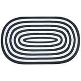Black & White Oval Striped Doormat
