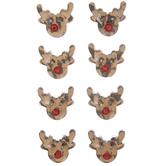 Brown Reindeer Head Rhinestone Stickers