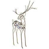 Gold Wire Frame Reindeer With Rhinestones