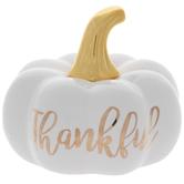 White & Gold Thankful Pumpkin