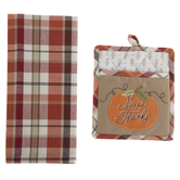 Give Thanks Plaid Kitchen Towel & Pot Holder
