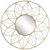 Gold Geometric Wire Frame Metal Wall Mirror